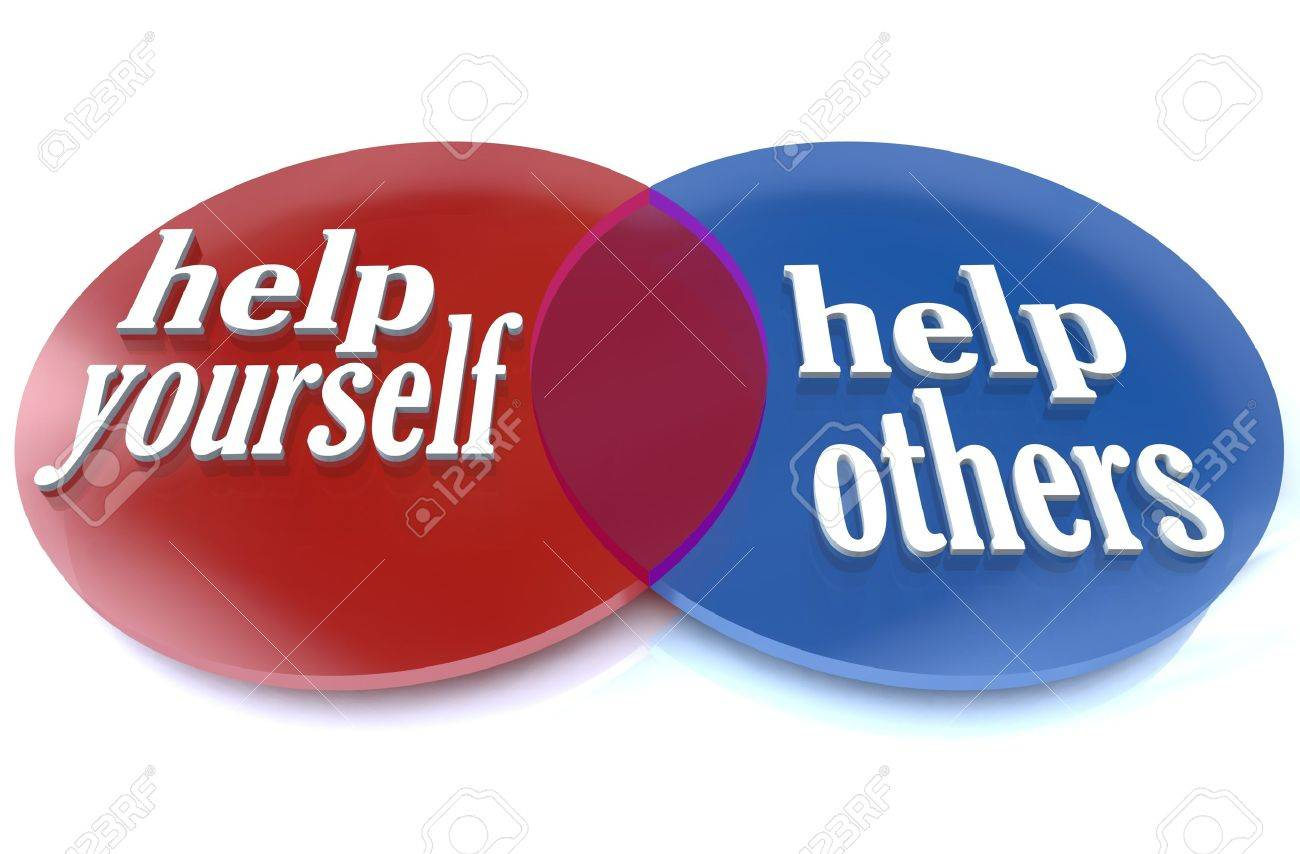 A venn diagram shows two intersecting circles, demonstrating the benefits that you and others can experience by donating your time and efforts to a worthy cause Stock Photo - 9596876