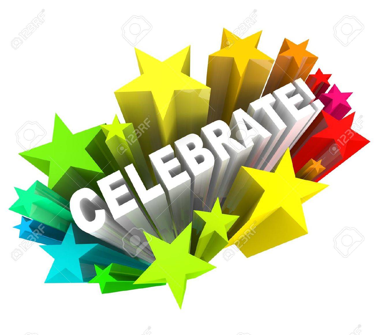 Celebration - Stock Photo The Word Celebrate Surrounded By Shooting Stars Symbolizing Excitement For A Party Or Celebration