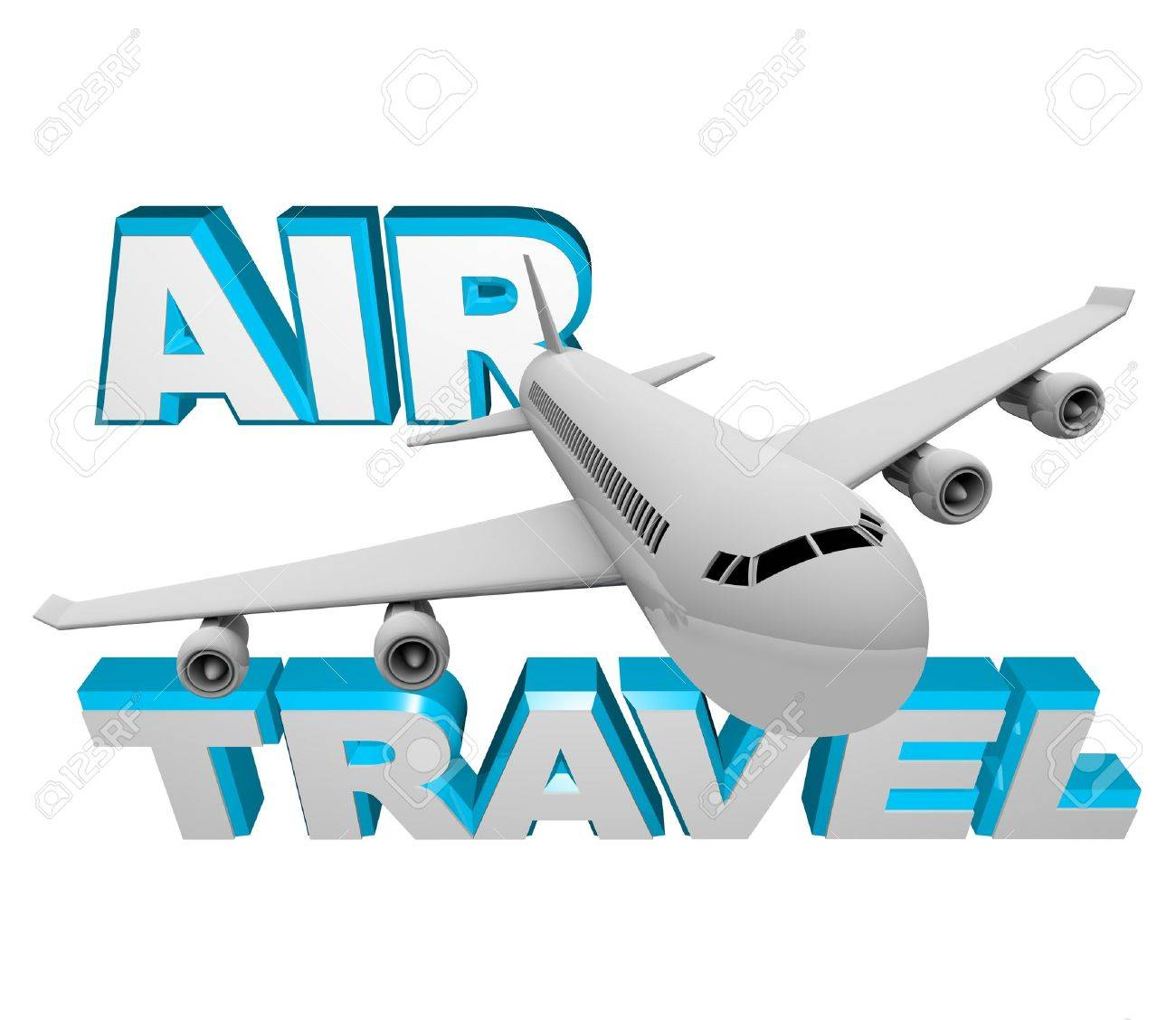 Book a flight for Air Travel, photo depicting an airplane jet soaring in front of words representing airline transportation for vacation or business getaway Stock Photo - 9596888