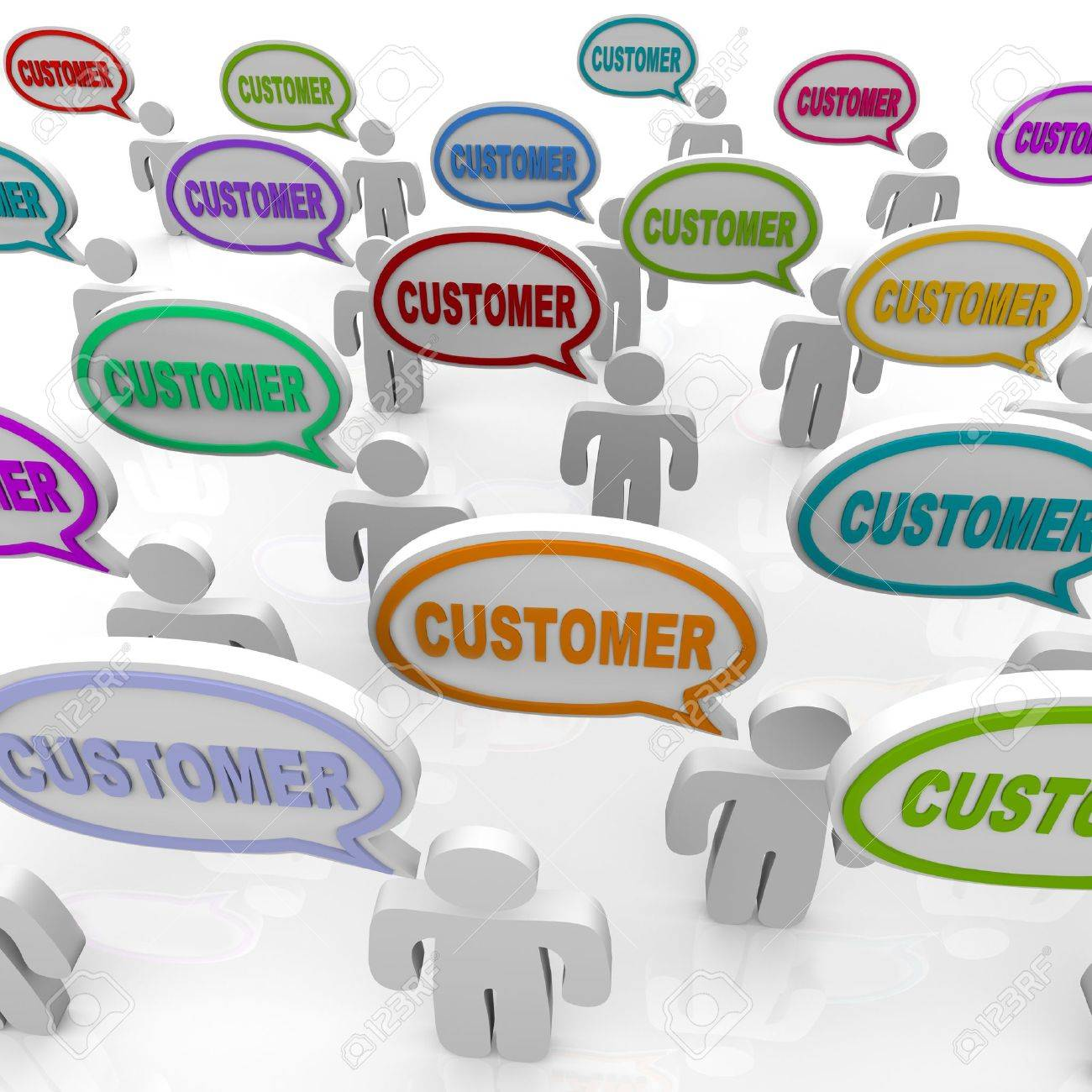 Many people speak with speech bubbles with the word Customer in them, illustrating the unique needs of different customers in a targeted market Stock Photo - 9748109