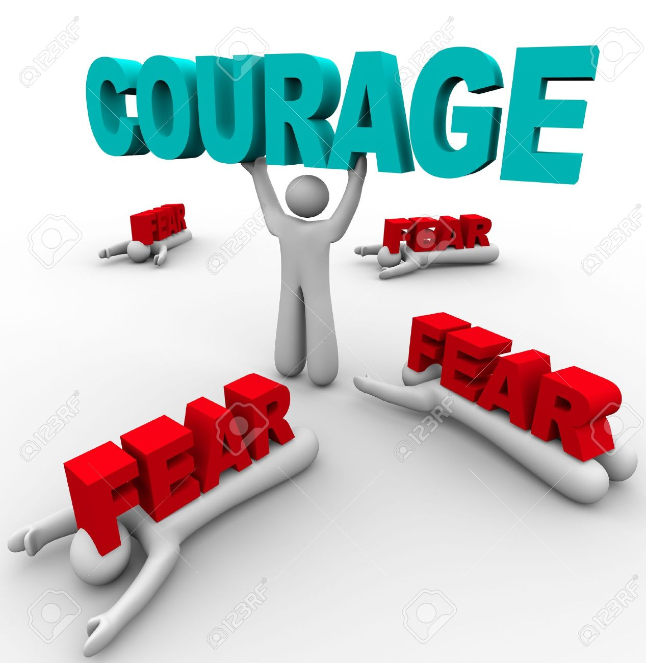 One person stands holding the word Courage, having conquered his fear, while others around him succumb to Fear and are defeated and crushed by the word Stock Photo - 9748121