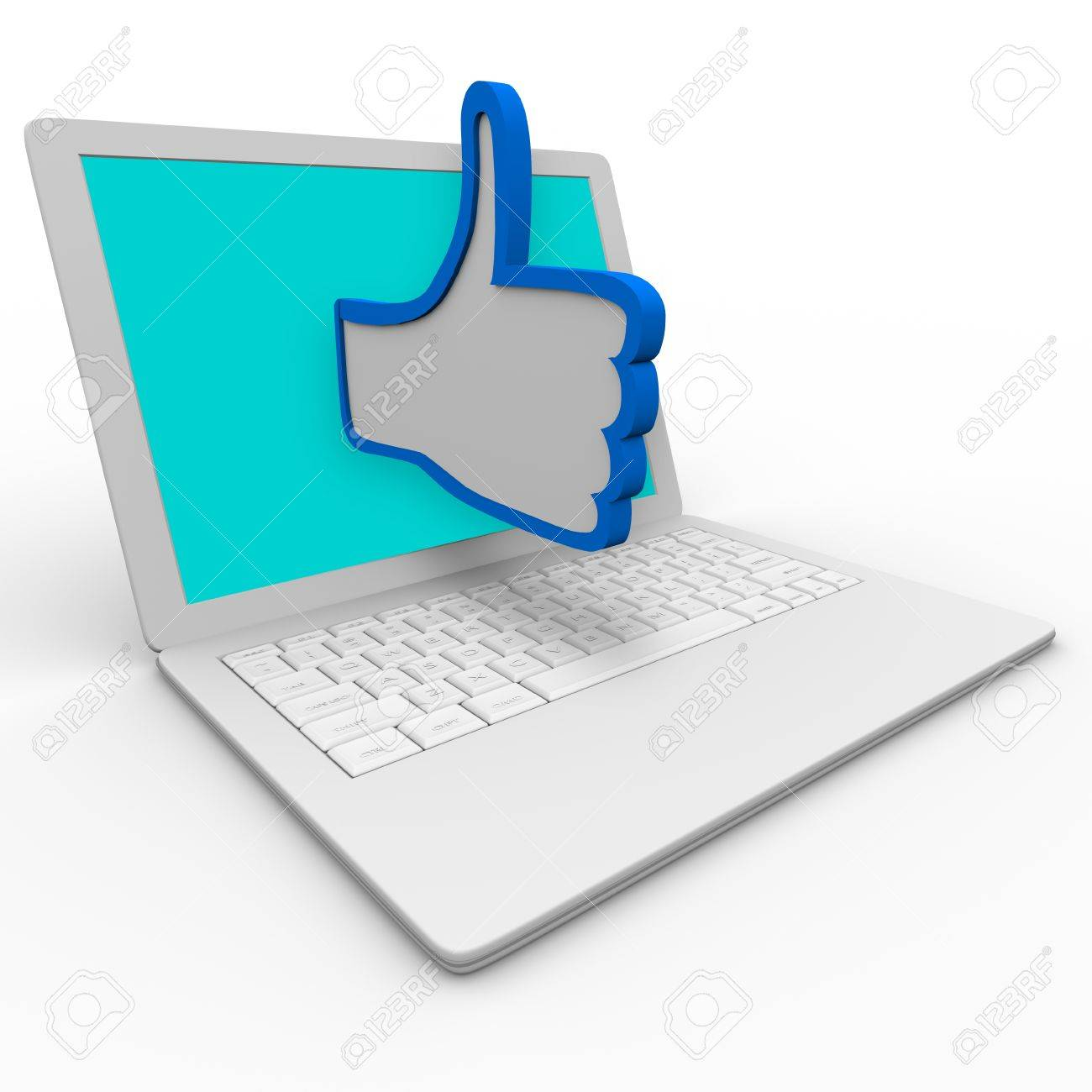 A Blue And White Thumbs Up Symbol Emerges From A Laptop Computer