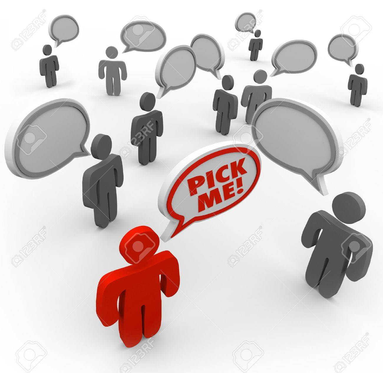 One person says Pick Me and stands out from the crowded field of applicants for a new job or other desired position Stock Photo - 10015033