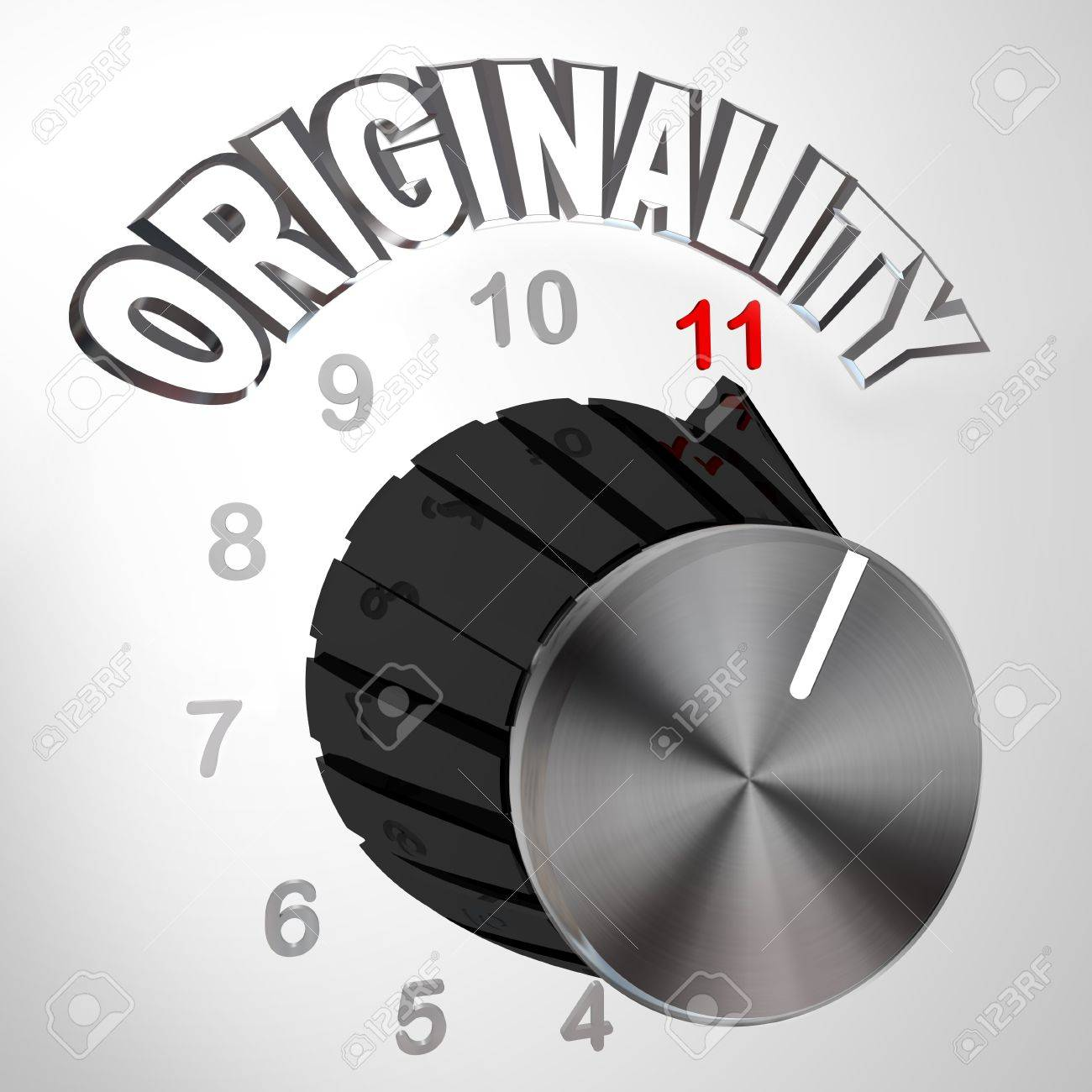 The Originality dial or knob is turned all the way to 11 surpassing and exceeding the normal maximum level of unique thinking and innovation in coming up with new ideas to solve a problem Stock Photo - 10015038