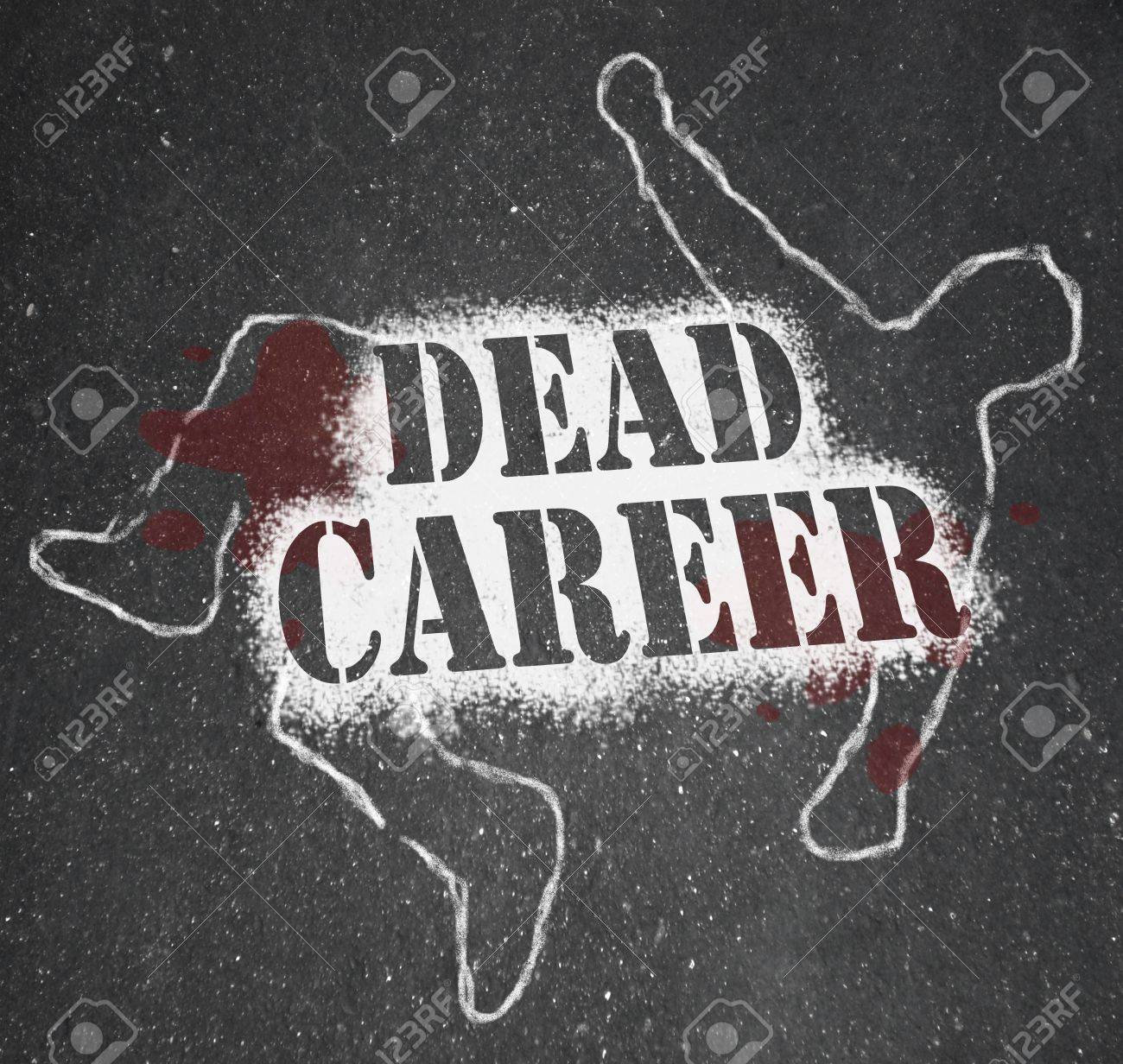 A chalk outline of a dead body symbolizing a career that has stalled due to being obsolete, demoted or obsolete Stock Photo - 10015096