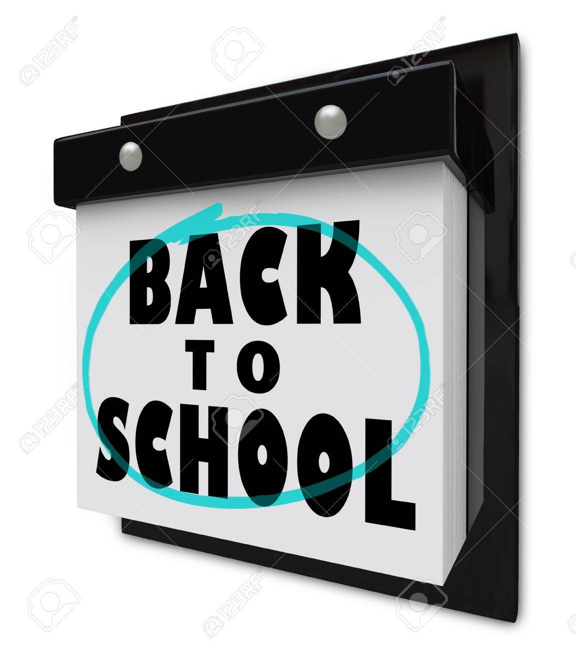 A wall calendar with tear-away pages, and the words Back to School reminding you that classes start soon Stock Photo - 10085895