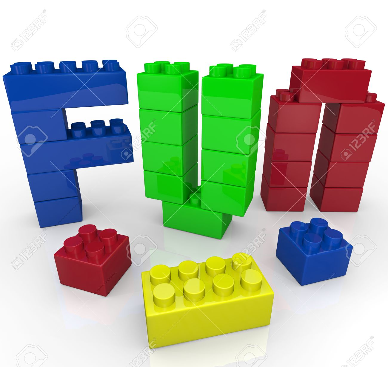 The word Fun built with plastic toy building blocks in several colors representing the power of imaginative and creative play Stock Photo - 10085898