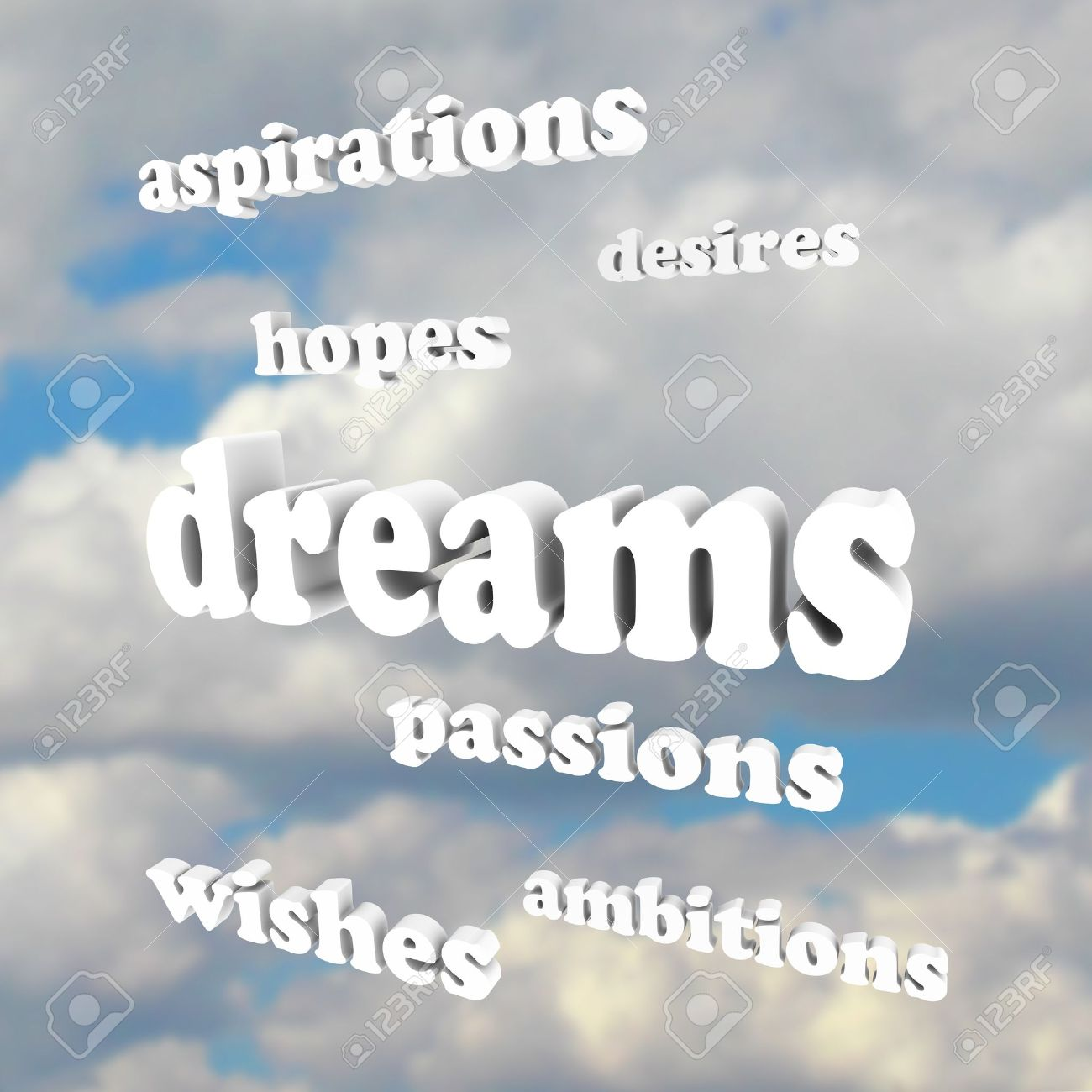 several words around the word dreams representing our goals in