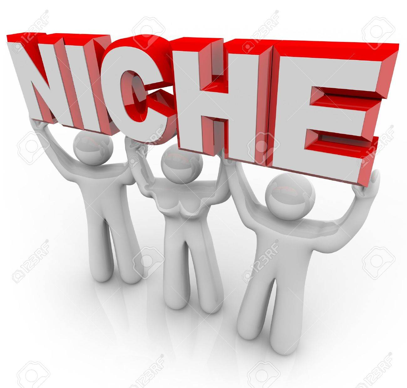 A team of people lift the word Niche symbolizing a unique group of customers who can be marketed and sold to by nature of their special wants and needs Stock Photo - 10226858
