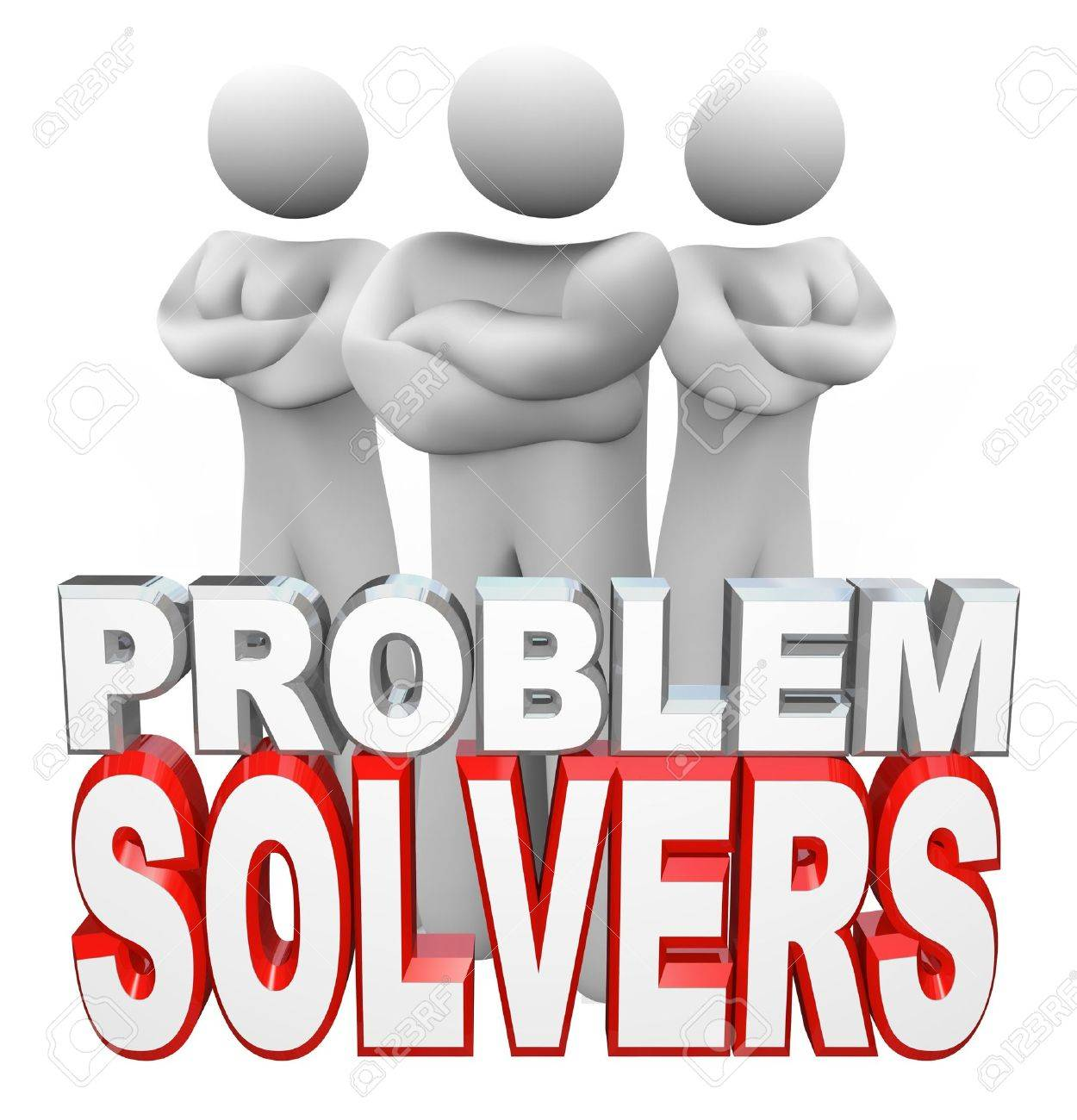 A team of people, two women and one man, stand with arms folded behind the words Problem Solvers, ready to assist you in solving your problem, issue or trouble Stock Photo - 10244245