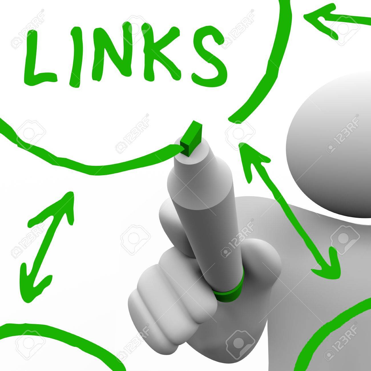 A person draws a series of links connecting in a network of referrals, representing a well search engine optimized website or an organization of connected people Stock Photo - 10266534