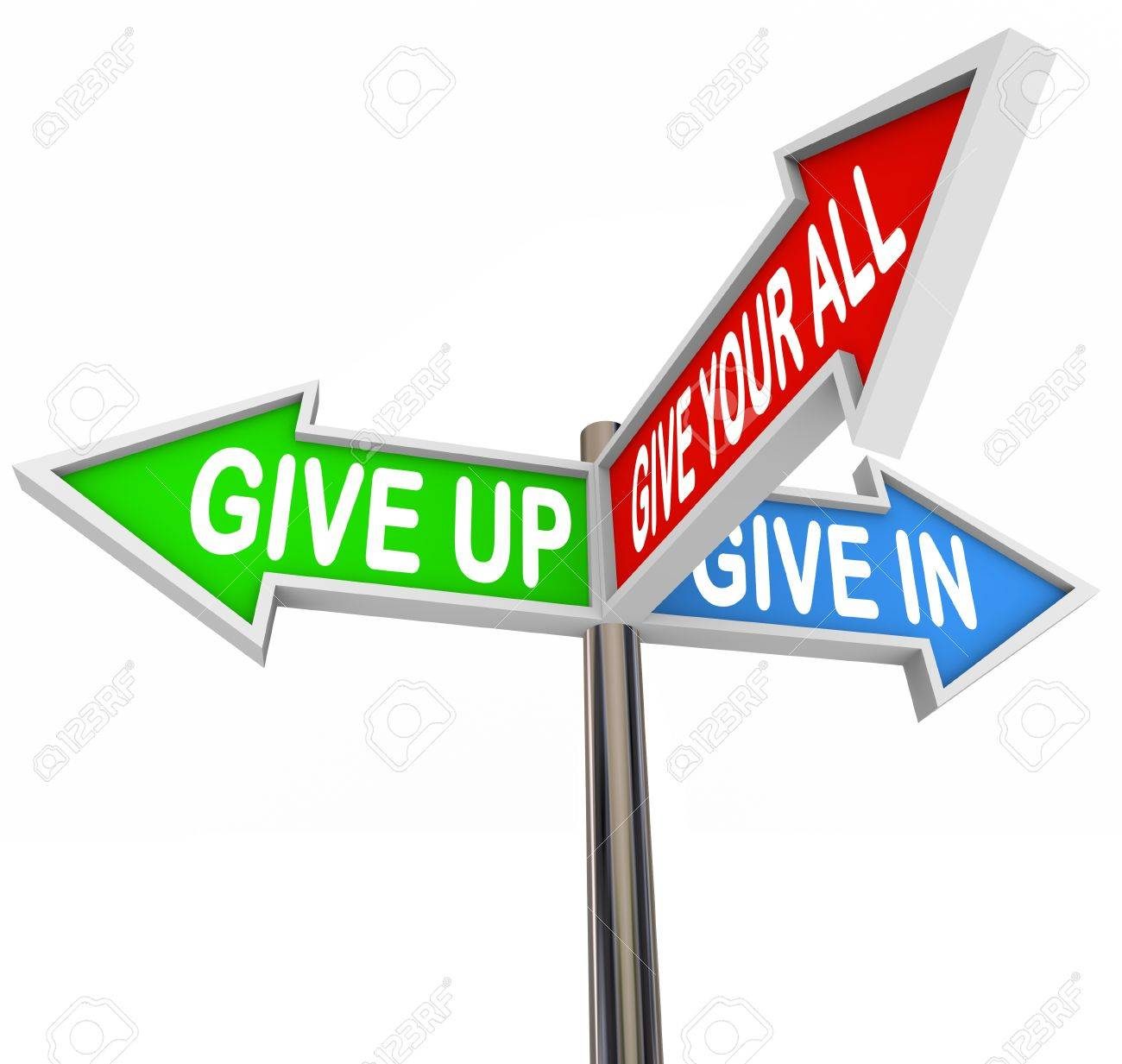 Three colorful arrow signs reading Give Up, Give In or Give Your All illustrating the choices you have of either giving in to adversity or maintaining a positive attitude and achieving success Stock Photo - 10265324