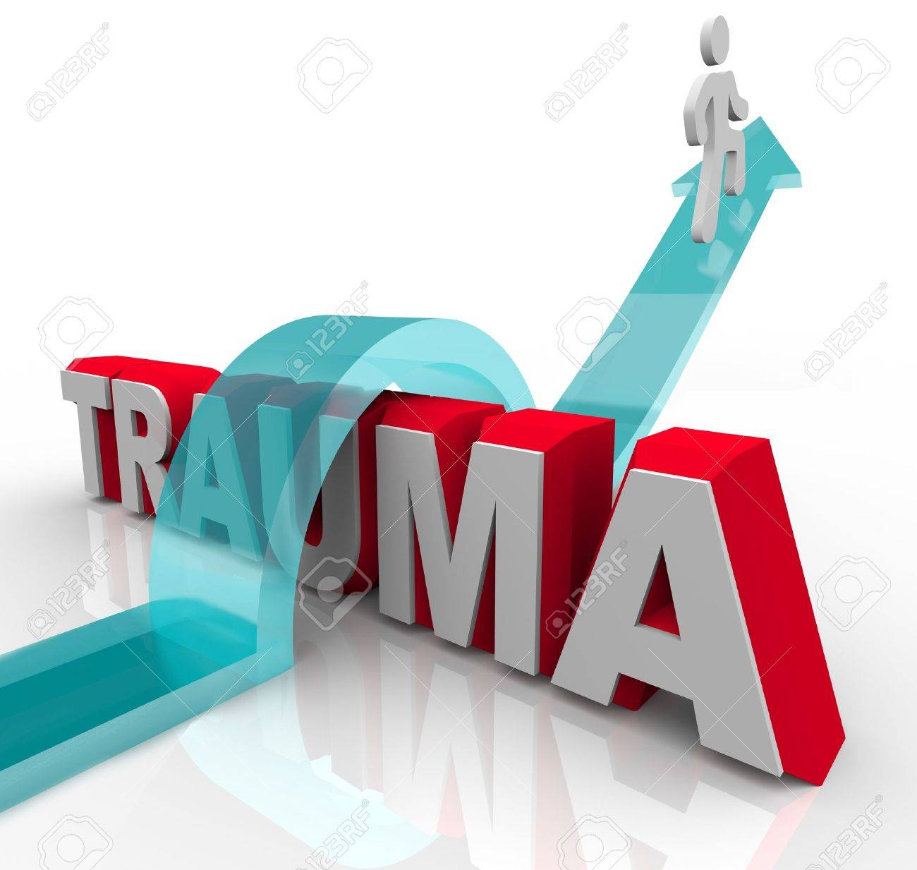 A person jumps over the word Trauma on an arrow, symbolizing the positive effects of theraphy and rehabilitation as well as a good attitude Stock Photo - 10265304