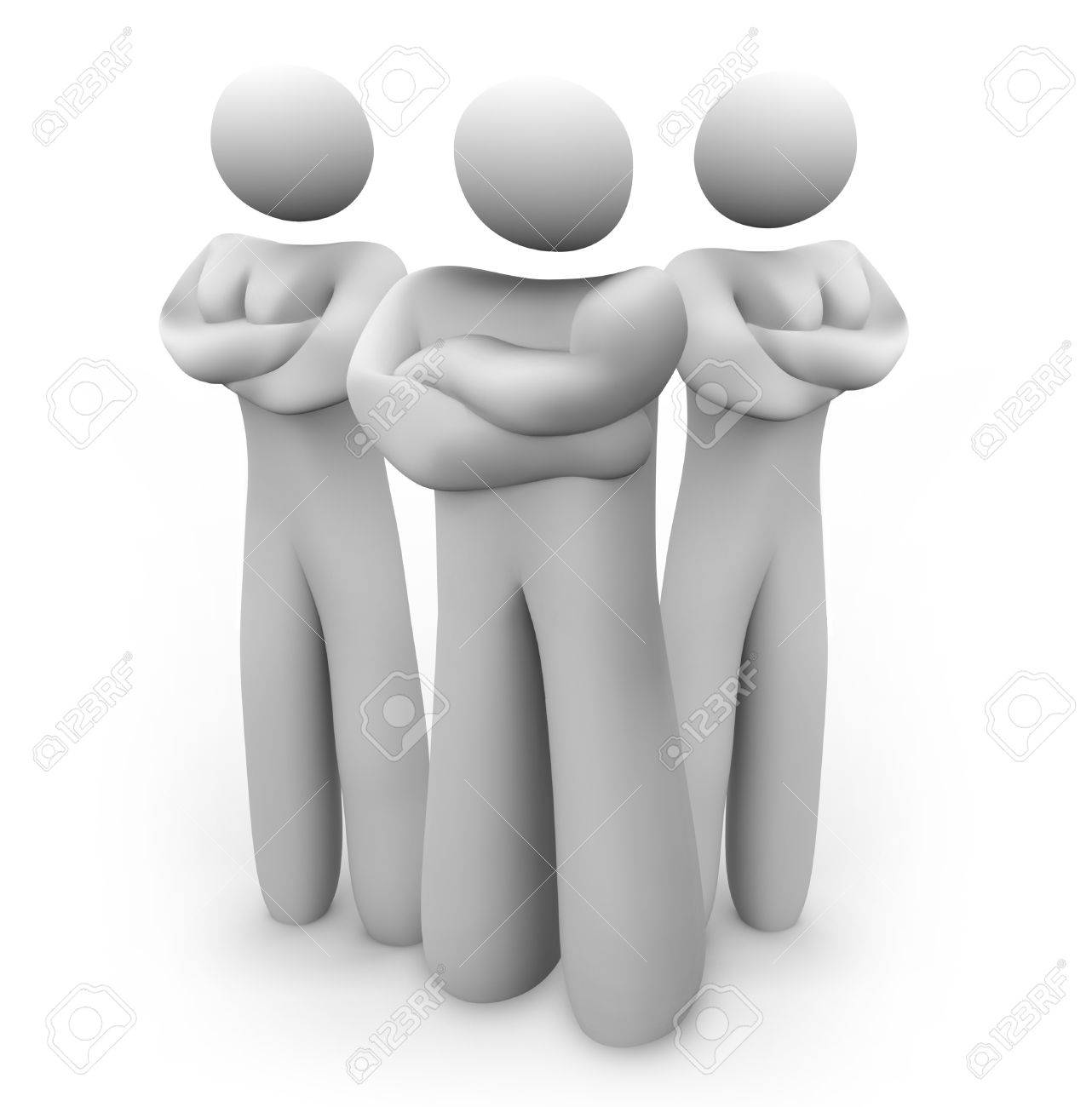 Two women and one man stand with arms crossed, in a guarding, serious, security position as if to say We Mean Business and send you disapproving, stern looks Stock Photo - 10385606