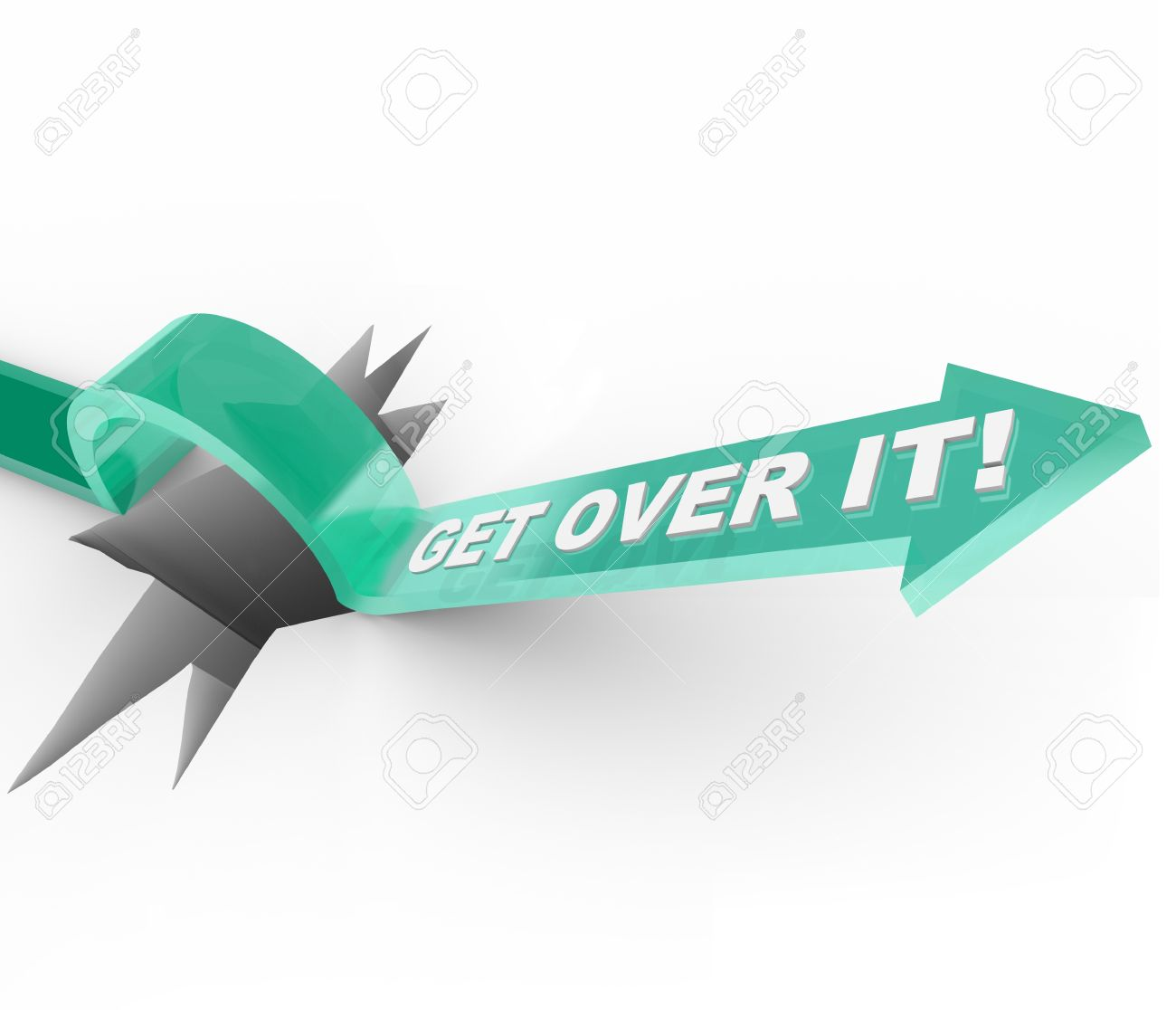 An arrow jumps over a hole, with the words Get Over It telling you to move past being down or depressed about a problem and moving on with your life Stock Photo - 10438073