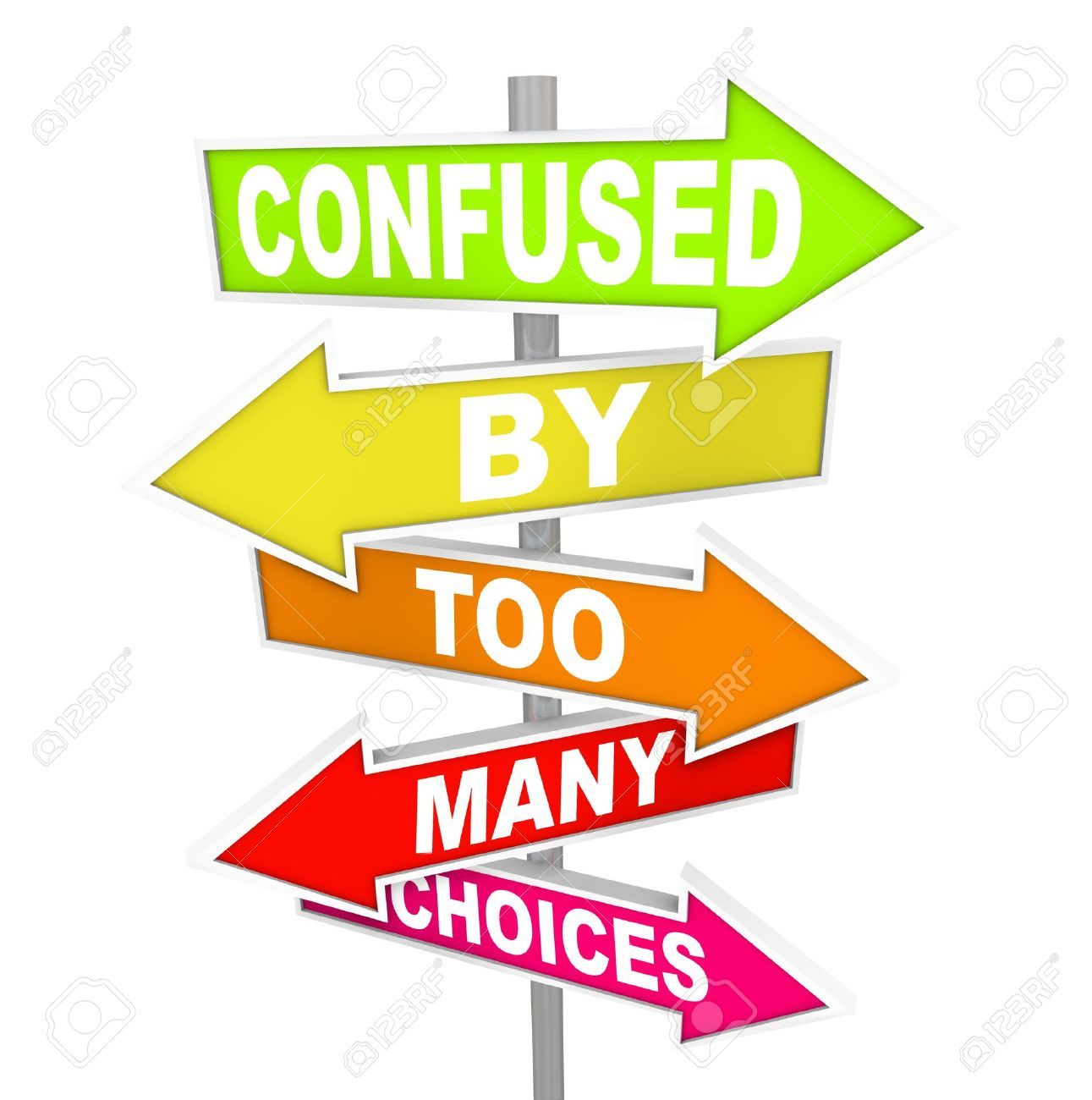 Several colorful arrow street signs with the words Confused By Too Many Choices, illustrating the paralysis and immobility you can feel when suddenly facing a wide array of options to choose from Stock Photo - 10438078