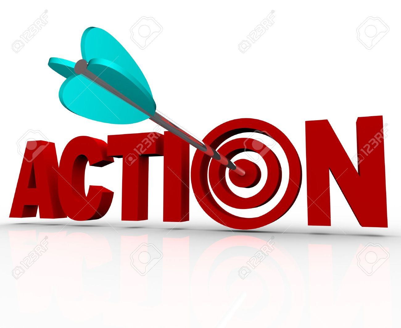 The word Action as a 3D illustration with an arrow hitting a target bullseye in the letter O, representing urgency or an emergency need to act now to solve a problem or complete a goal Stock Photo - 10465601