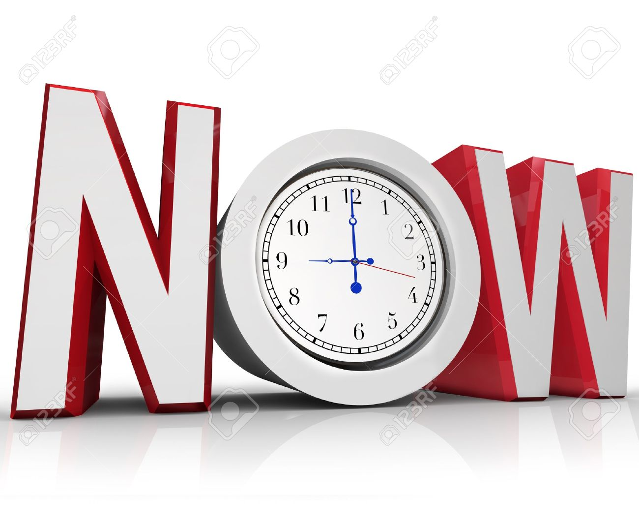 The word Now with a clock in the letter O representing an urgency or emergency and important need to beat a tight deadline Stock Photo - 10530559