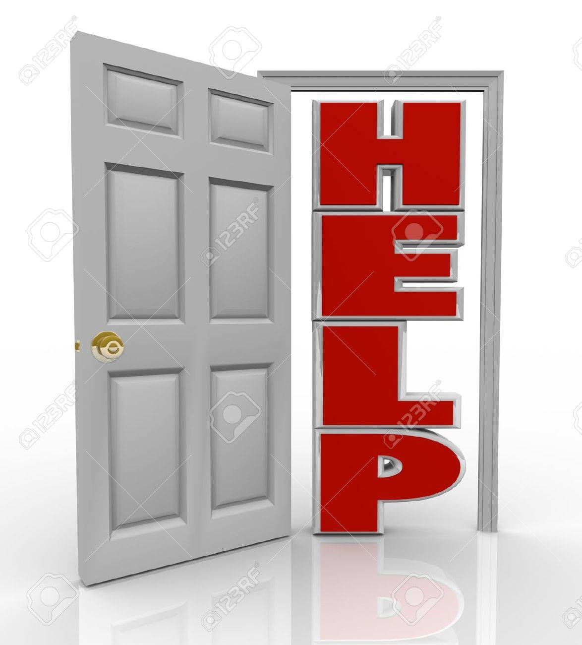 A white door opens to reveal the word Help symbolizing the support and assistance you can receive by opening up to a friend, colleague or counselor who can assist you in your needs Stock Photo - 10566705