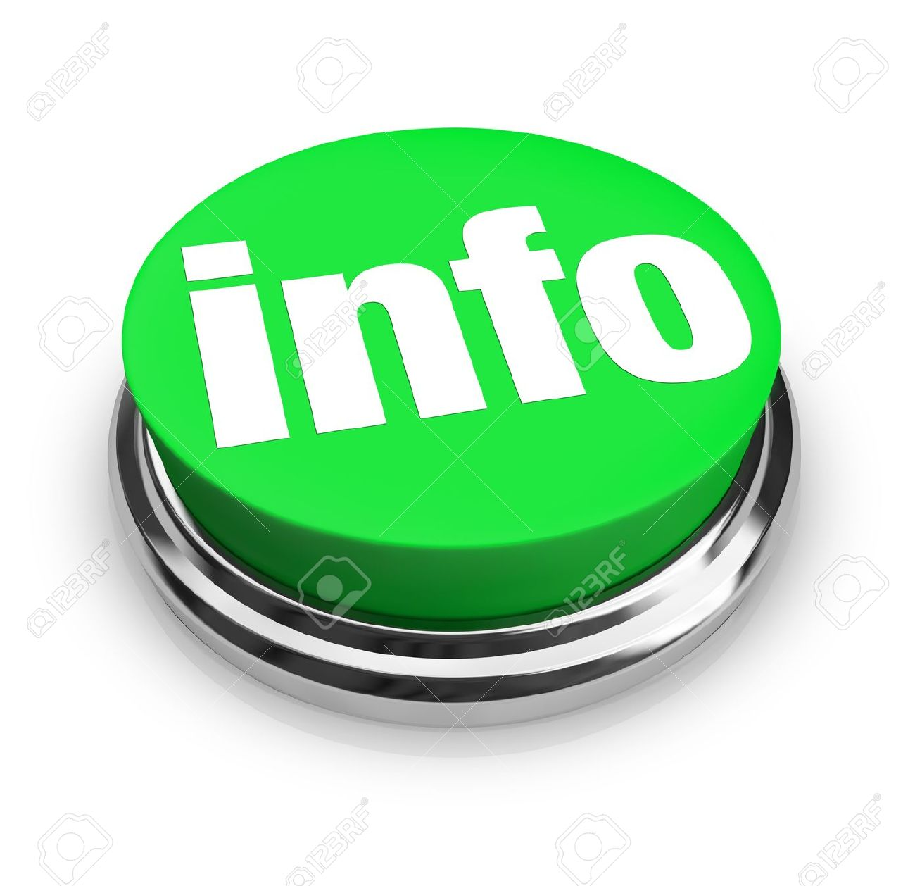 A green button with the word Info representing a way to get more information to answer your questions on an important matter, product or news feature Stock Photo - 10599147