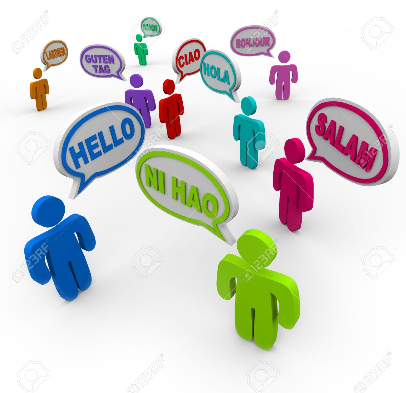 Many people speaking and greeting each other in different international languages saying hello in their native tongues Stock Photo - 10622593