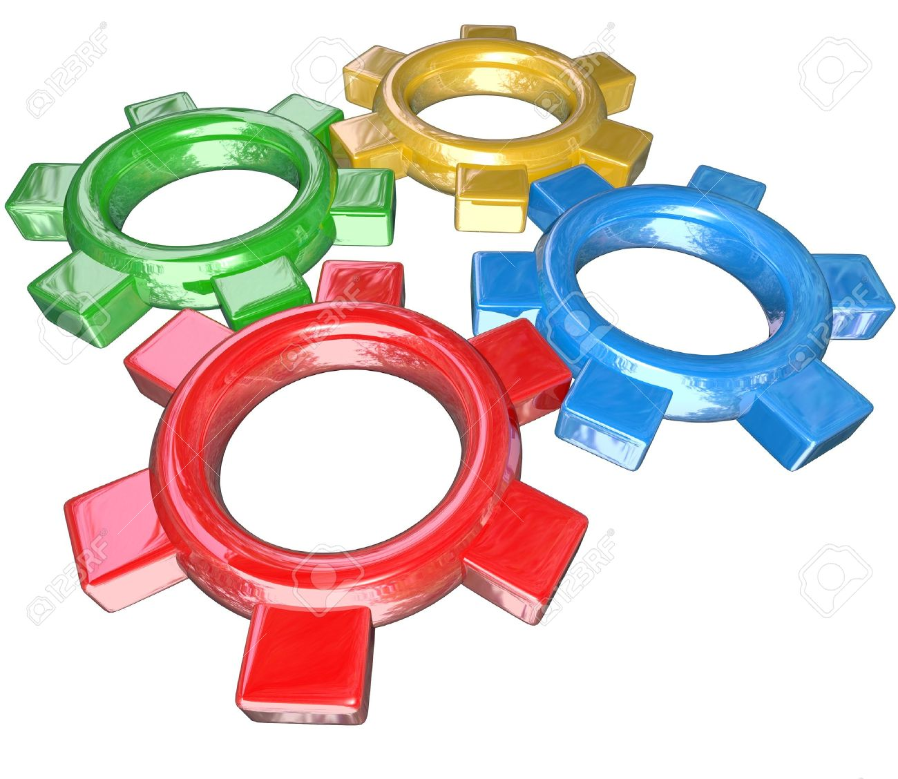 Four colorful gears -- one green, red, blue and gold -- turn in unison to symbolize synergy, cooperation, parternship and collaboration in working together to meet a goal or overcome a challenge Stock Photo - 10658132