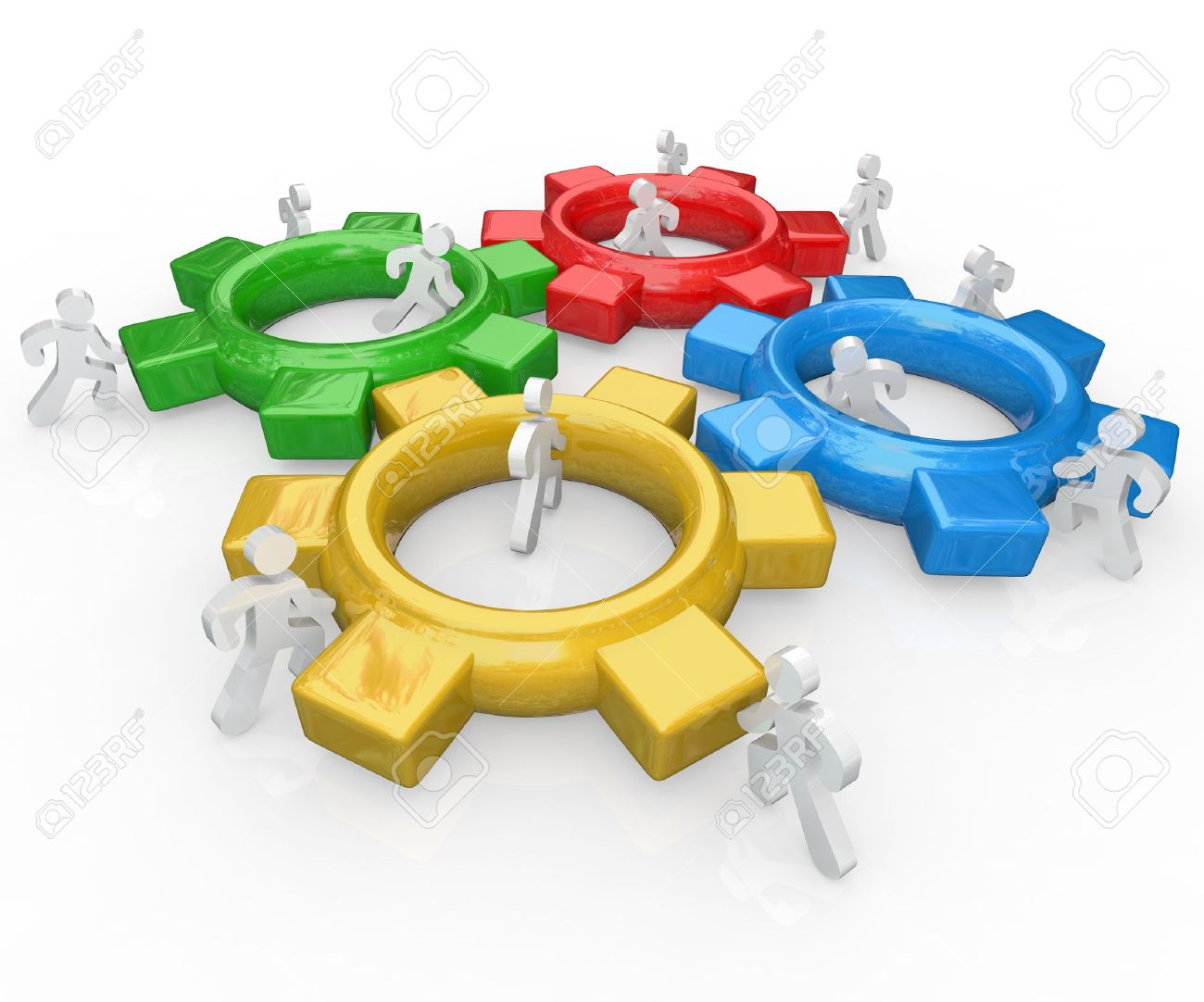 A team of illustrated people work together to push several colored gears into a functioning machine to symbolize the synergy and partnership necessary to achieve a major goal Stock Photo - 10801942