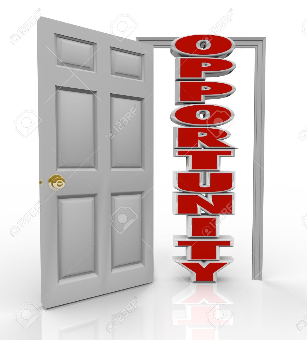 a white door opens to reveal the word opportunity to illustrate a white door opens to reveal the word opportunity to illustrate the new chance you have