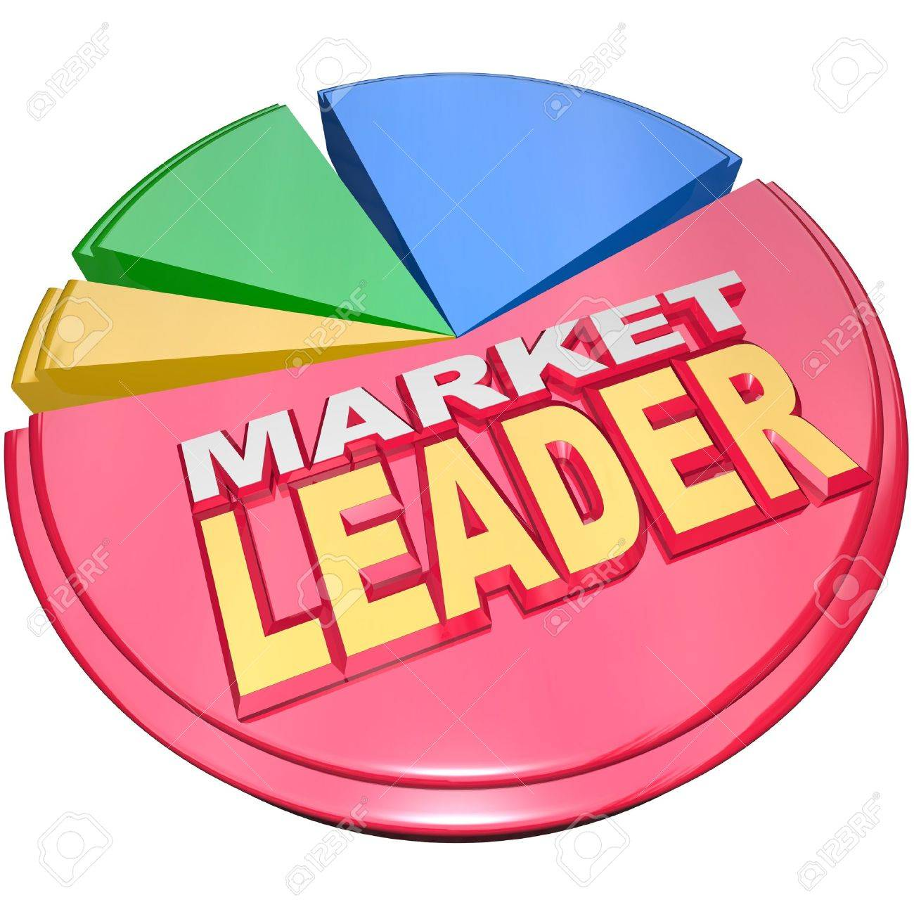 The largest slice of a 3d pie chart with the words market leader the largest slice of a 3d pie chart with the words market leader to signify the nvjuhfo Images