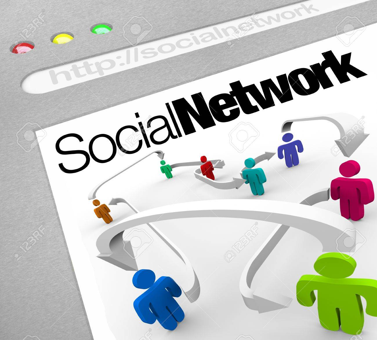 A web browser window shows a social network of people connected by arrows represented on a web screen illustrating a networking site on the internet Stock Photo - 10913361