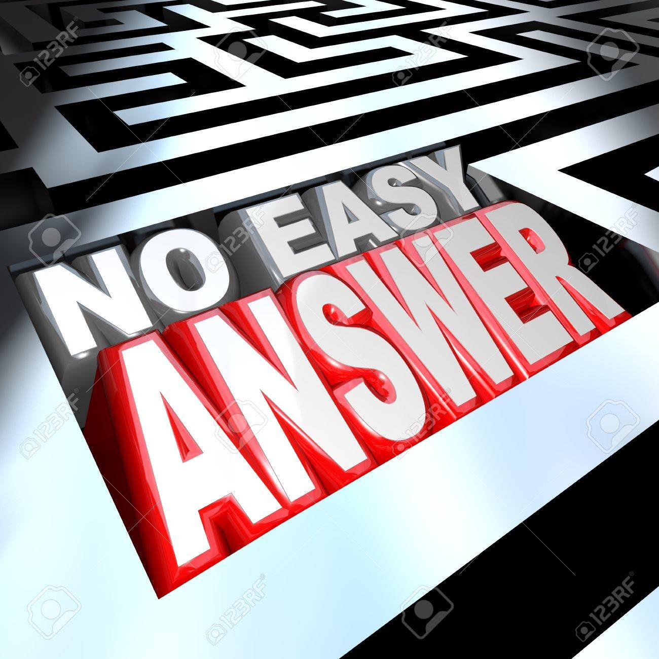 3d illustrated words No Easy Answer words in a maze without an obvious solution in sight, with a challenging problem that you must solve and overcome to succeed in life Stock Photo - 10978054