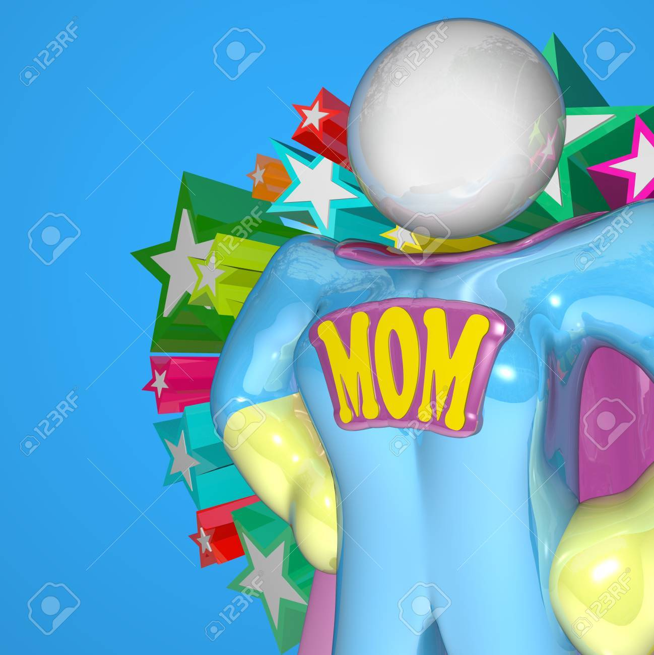 A woman in a Supermom costume stands ready to protect her family and multitask by taking care of the family, the home, and working for the betterment of her loved ones Stock Photo - 10978052