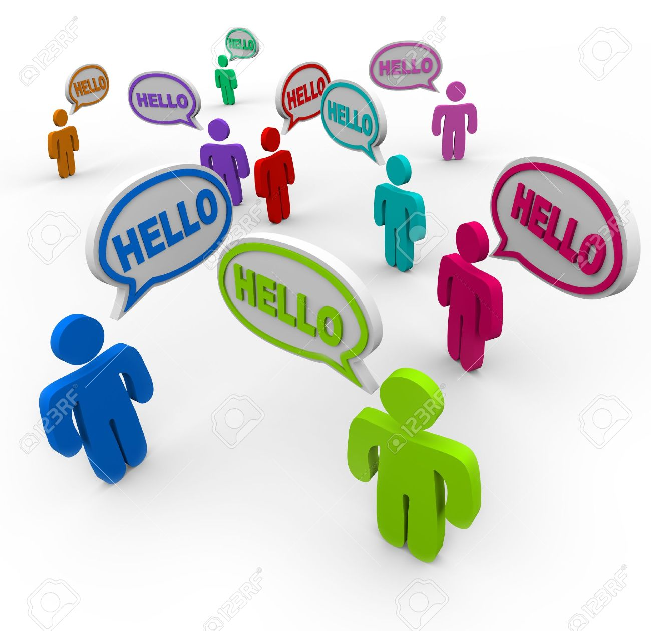 Many people of different colors representing various cultures speaking and greeting each other saying hello in speech clouds or bubbles Stock Photo - 11049231