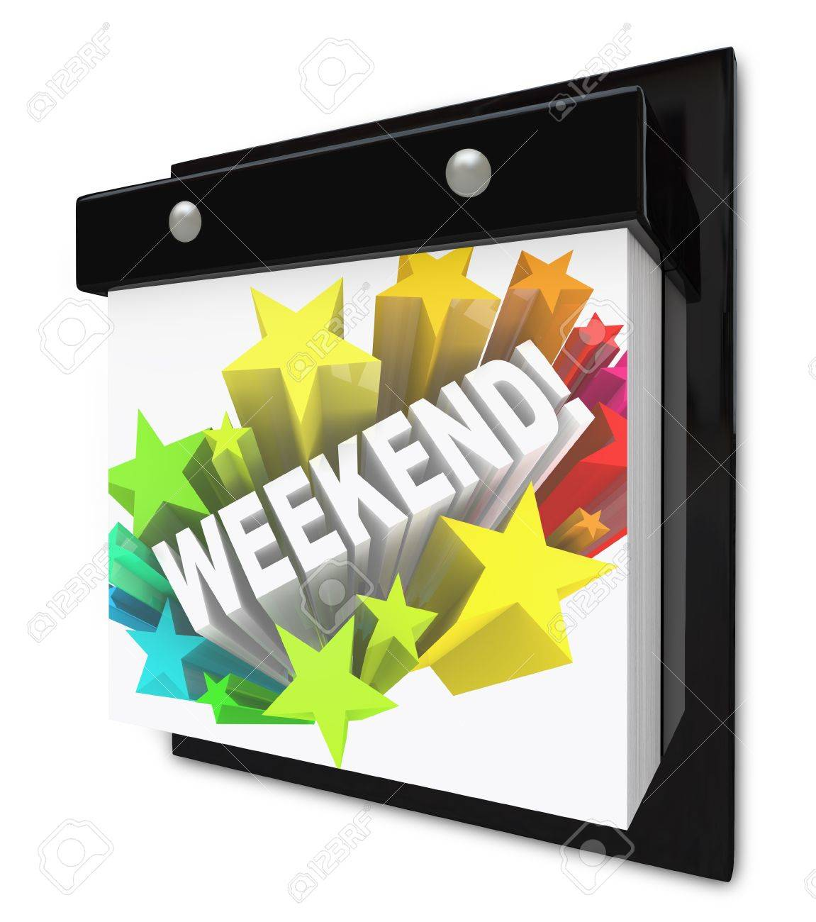 A Wall Calendar With The Word Weekend In A Colorful Starburst ...