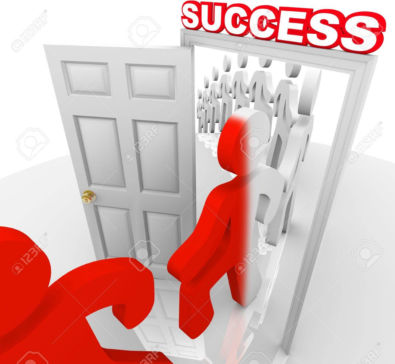 A line of people step through a doorway marked Success and are changed to a new color symbolizing that they have been transformed to achieve and accomplish their goals in life Stock Photo - 11679237