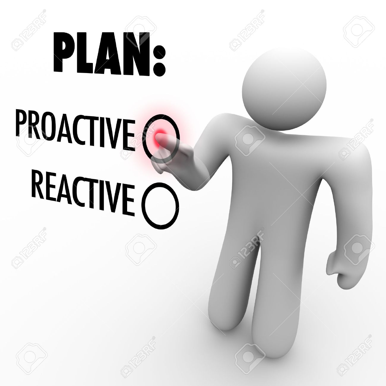 A man presses a button beside the word Proactive instead of Reactive symbolizing the choice to take action and initiative to make improvement or first steps to success Stock Photo - 11679252