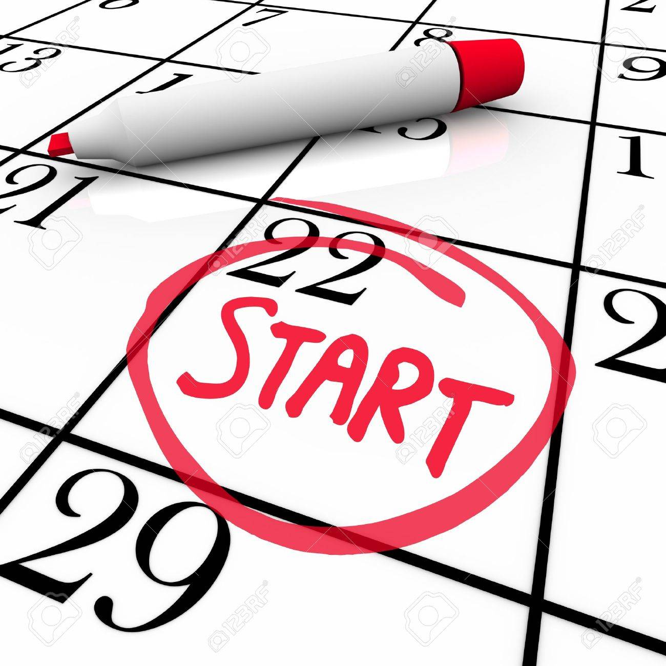 A day with the word Start circled on a calendar to mark the beginning of a new job, school semester or other significant event Stock Photo - 11826653