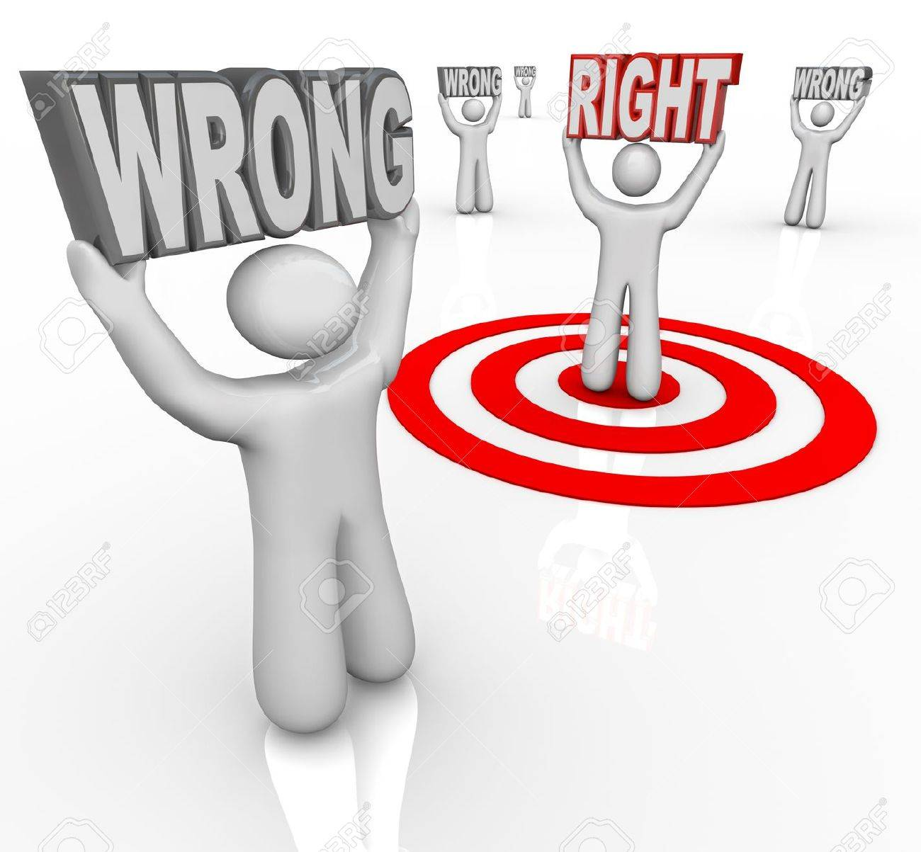 People holding the word Wrong and one lifting Right, chosen by a bullseye target as the best choice or selection Stock Photo - 12232095