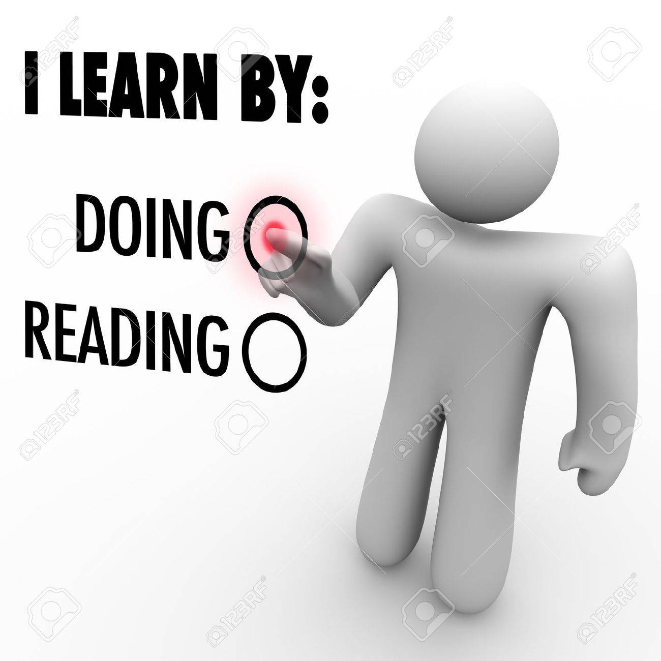 a man presses a button beside the word doing to indicate his a man presses a button beside the word doing to indicate his preferred method of learning