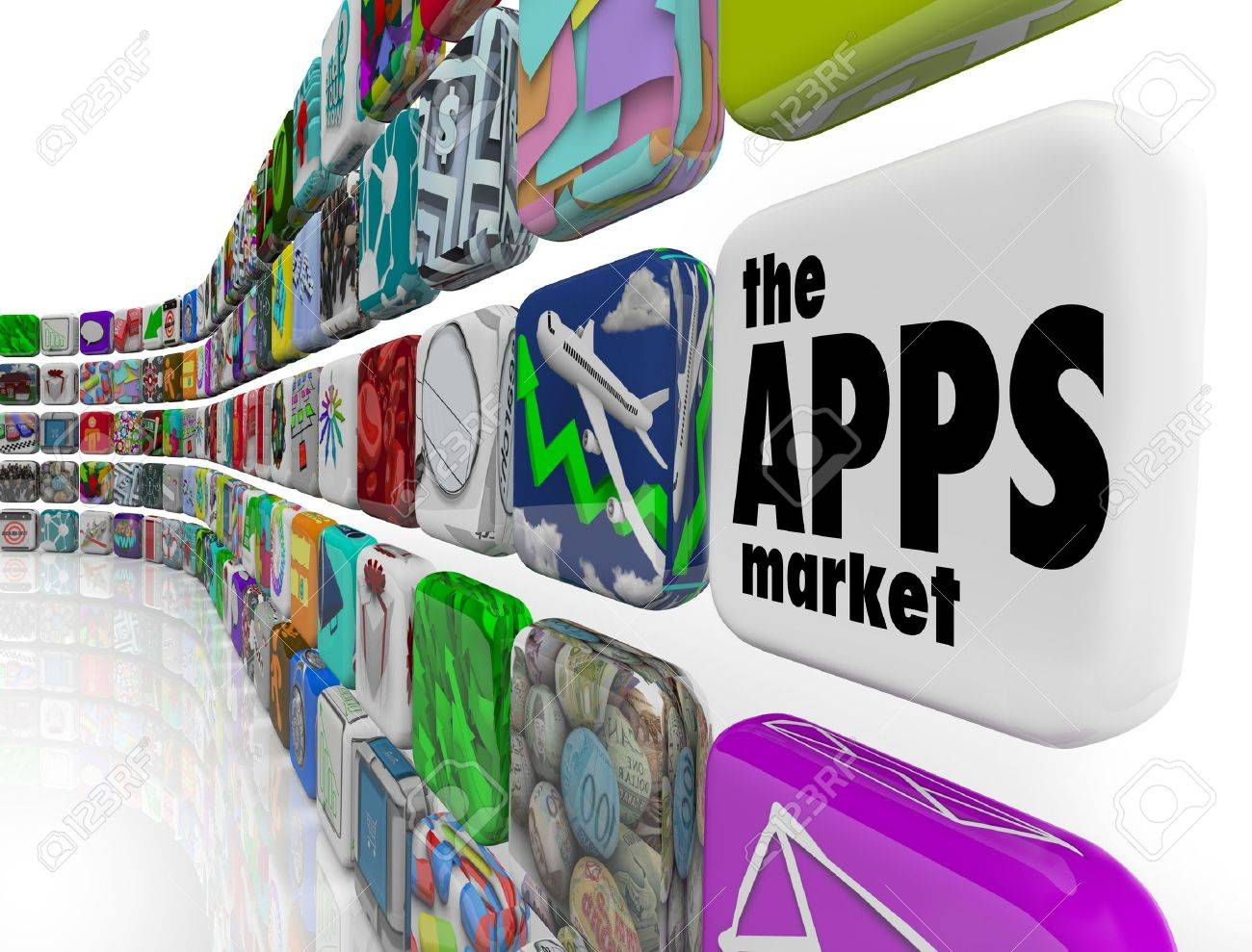 The words App Market on a white application tile in a wall of apps in a store which sells software programs for download to your smart phone or other electronic device Stock Photo - 12232121