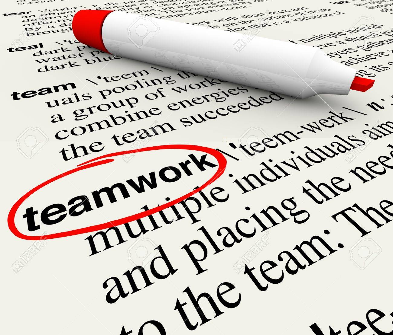 a dictionary page the word teamwork circled to give meaning a dictionary page the word teamwork circled to give meaning to the concept of working