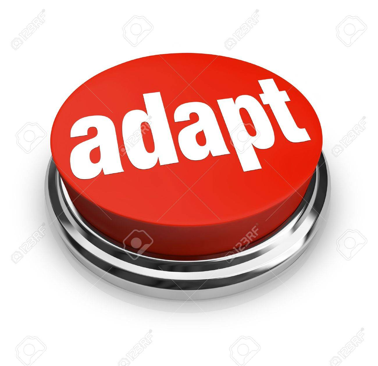 A red button with the word adapt on it, representing the desire to affect instant change and quickly be adaptive to chaingng business or life conditions Stock Photo - 12583629