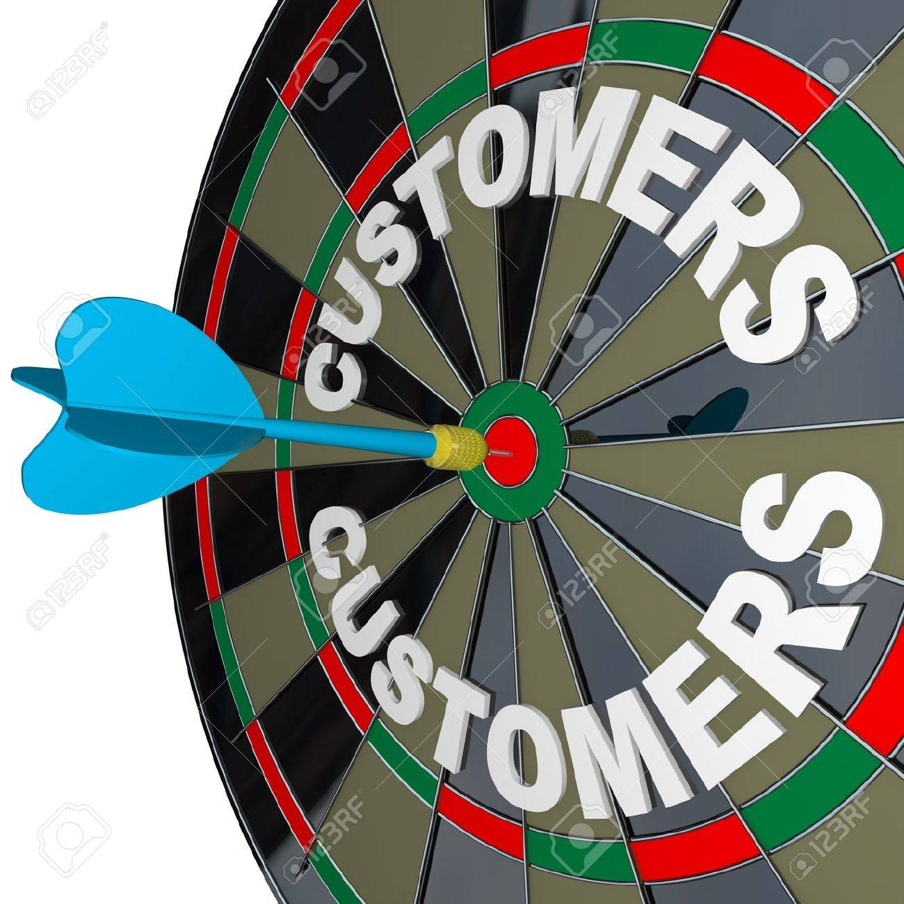 A blue dart hits a bulls-eye in the target on a dart board marked Customers to symbolize finding new buyers for your products or services Stock Photo - 12583637
