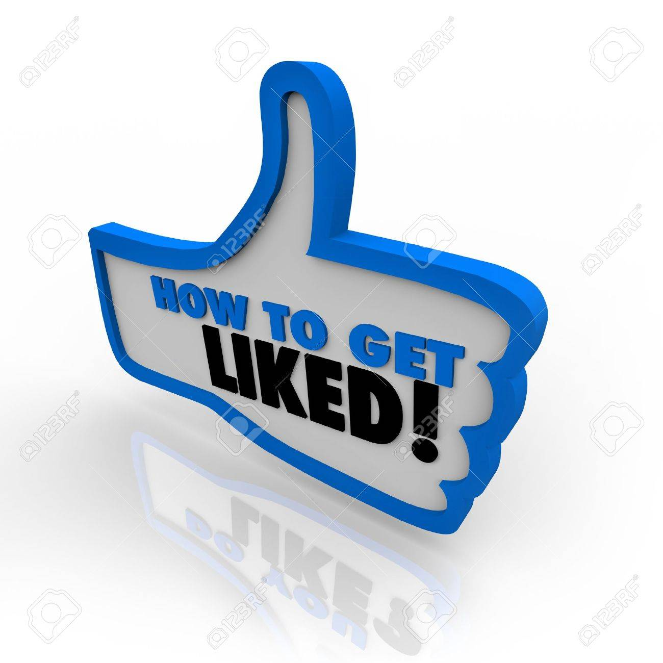 A blue outlined thumbs up icon with the words How to Get Liked offering advice on gaining popularity and approval on the internet or in business Stock Photo - 12583654