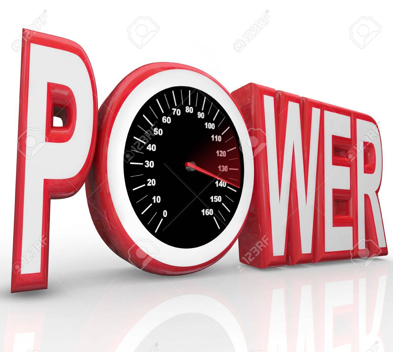 The word Power with a speedometer in the letter O representing powerful energy and speed racing to complete a challenge or win a race or competition Stock Photo - 12583733