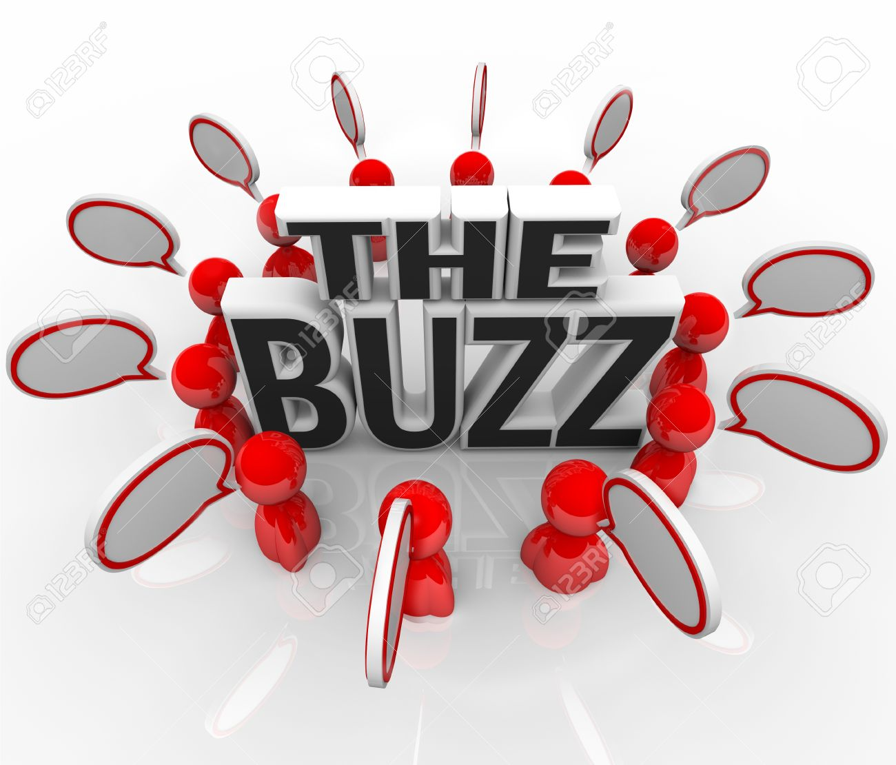 The words The Buzz surrounded by people talking with speech bubbles, symbolizing the spreading of hot news or the latest announcement on an important topic Stock Photo - 12844661