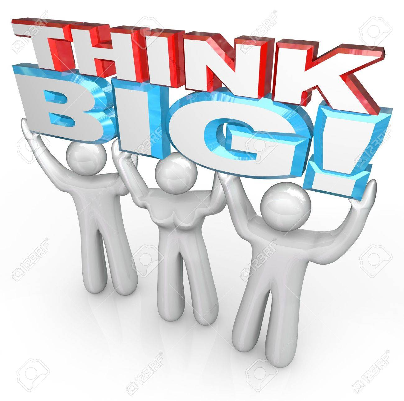 A team of people lift the words Think Big to symbolize achieving great success by setting your sights high and brainstorming huge ideas Stock Photo - 12844682