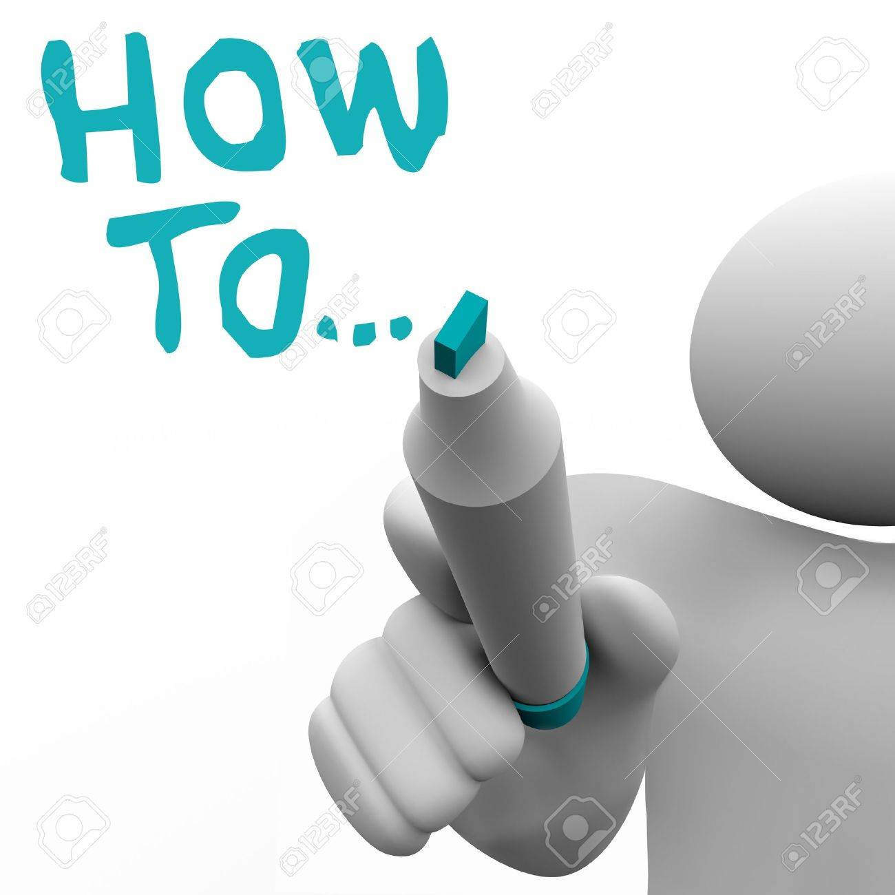 The words How To written by a man with a marker to give advice, instructions, consulting or other information on completing a task or reaching a goal in business or life Stock Photo - 12844695