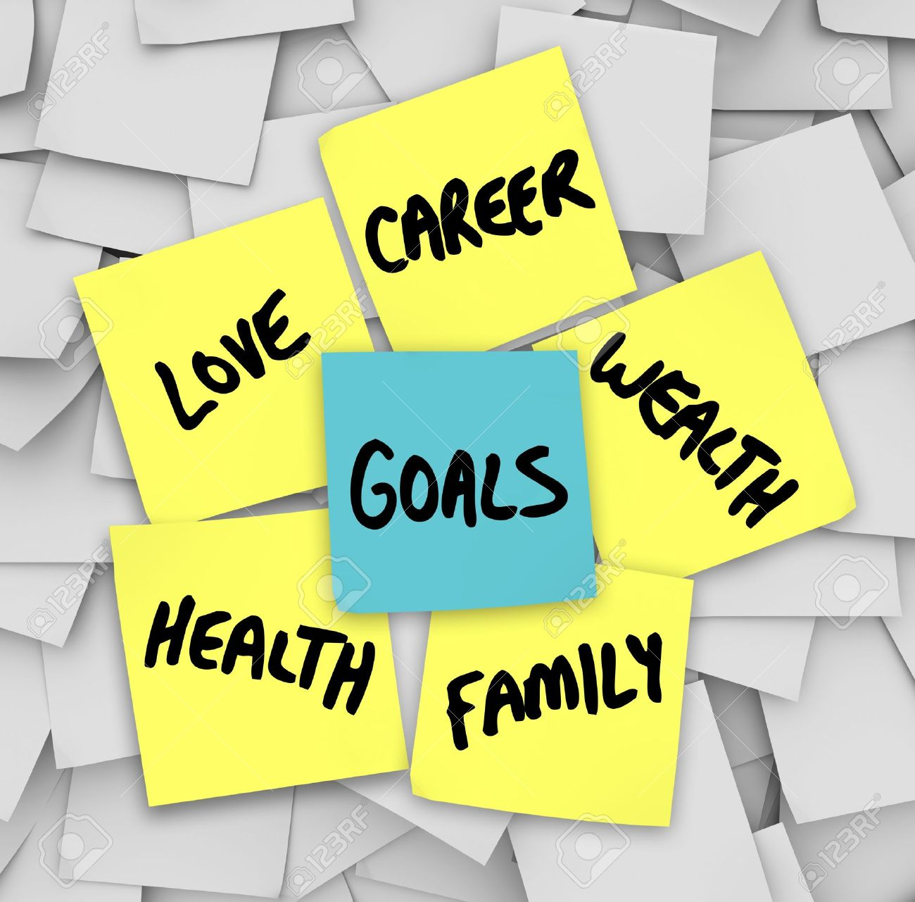 many sticky notes your personal goals written on them many sticky notes your personal goals written on them including love family career