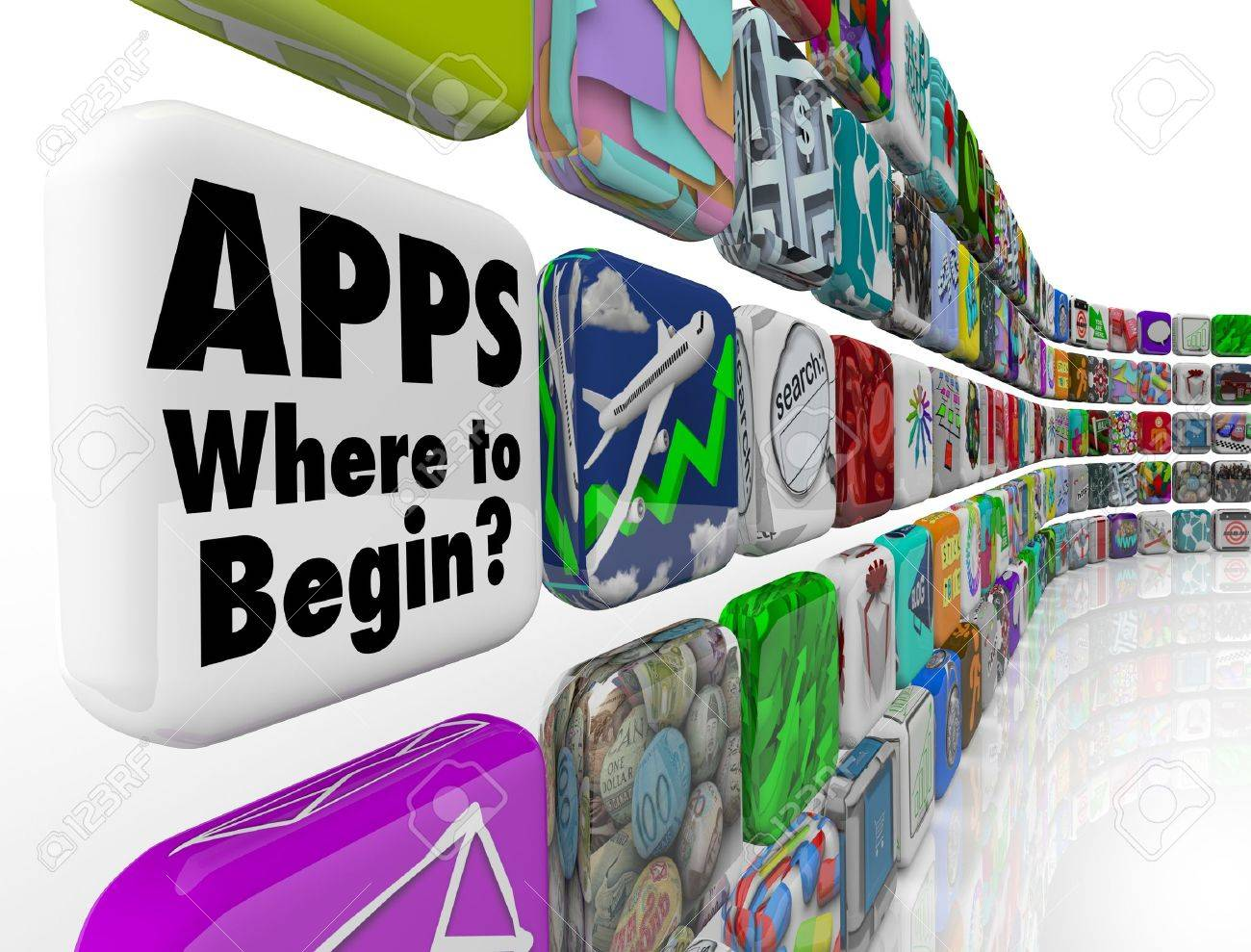 The words Apps - Where to Begin asking if you need help choosing the best app programs or software to put on your mobile device or smart phone, or how to develop applications Stock Photo - 12844725
